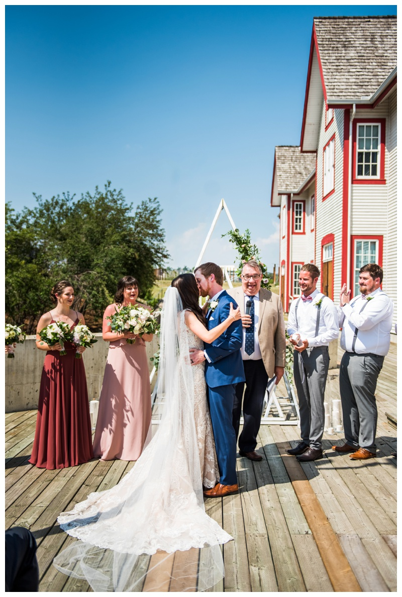 First Kiss - Fort Calgary Wedding Ceremony