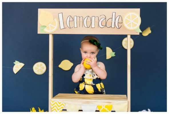 Lemonade Themed Cake Smash | Claire is ONE! | Calgary Cake Smash Photographer