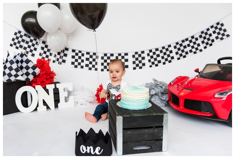 Boy Themed Cake Smash - Calgary Cake Smash Photographer