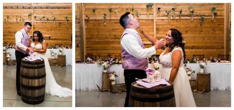 Cake Cutting Wedding Photos - Willow Lane Barn