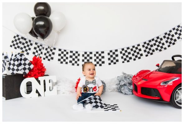 Calgary Race Car Themed Cake Smash | Fiorentino Is One | Calgary Cake Smash Photographer