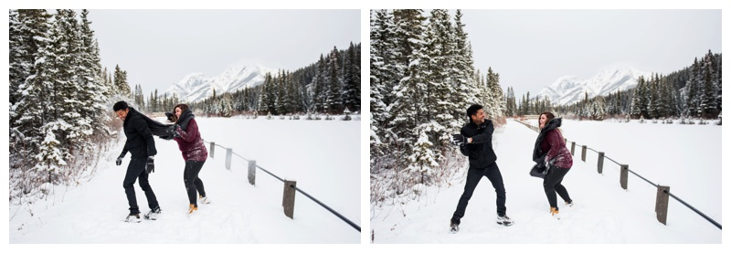 Snow Ball Fight Engagement Photos Canmore