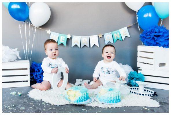 Calgary Twin Boy Cake Smash Session | Austin & Ethan | Calgary Cake Smash Photographer