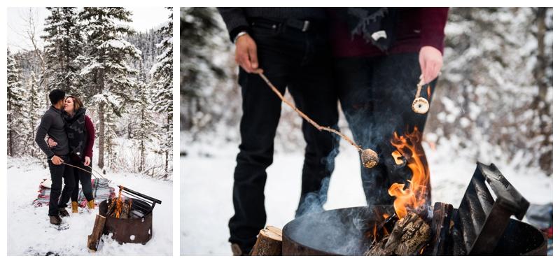 Winter Campfire Engagement Photos Calgary
