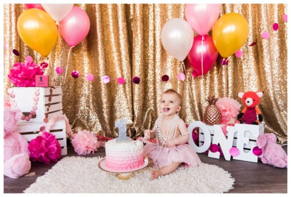 Calgary Pink Glitter Party Cake Smash | Kate is ONE!| Calgary Cake Smash Photographer