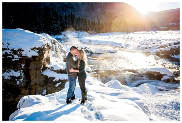 Winter Elbow Falls Engagement Session | Cory & Becky | Calgary Engagement Photographer