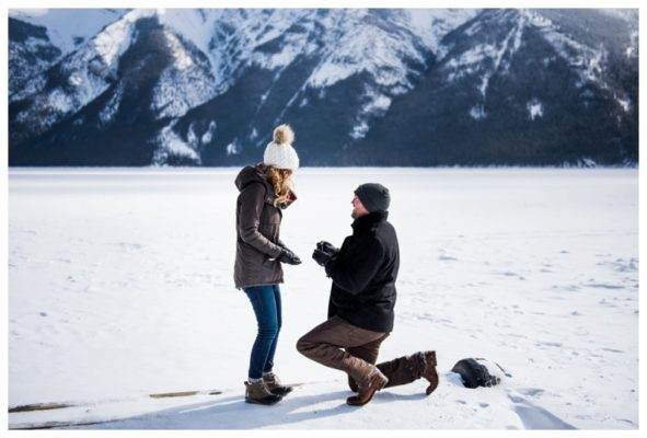 Banff Lake Minniwanka Wedding Proposal | Chris & Danielle | Banff Proposal Photographer