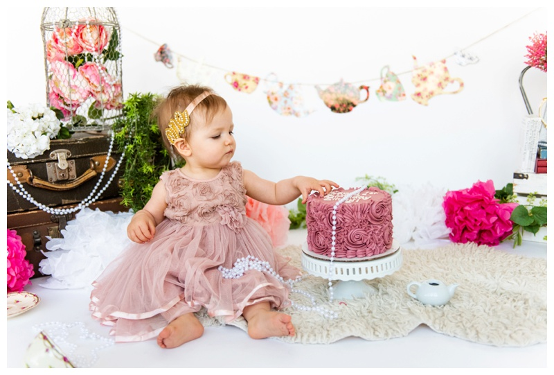 Girlie 1st Birthday Cake Smash Photographer Calgary