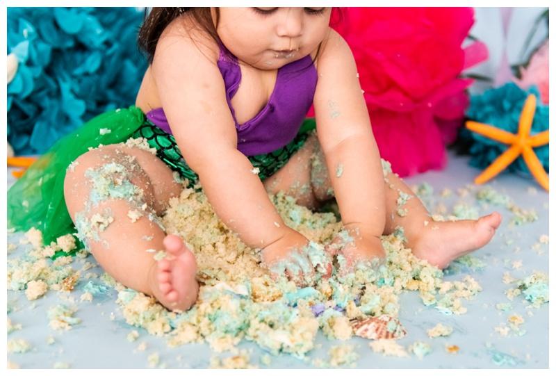 Mermaid 1st Birthday Cake Smash Photographer Calgary