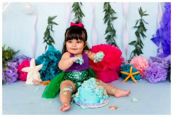 Calgary Mermaid Themed 1st Birthday Cake Smash | Annika is One! | Calgary Cake Smash Photographer
