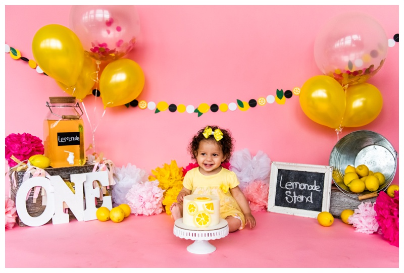Lemonade Stand First Birthday Cake Smash Photography Calgary