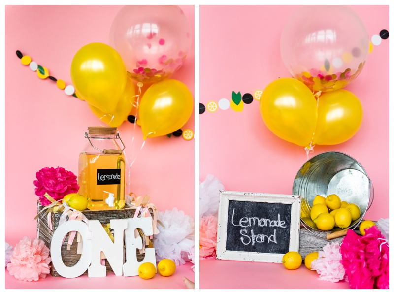 Lemonade Stand First Birthday Cake Smash Photos Calgary