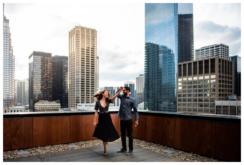 Calgary Le Germain Hotel Roof Top Engagement Photography