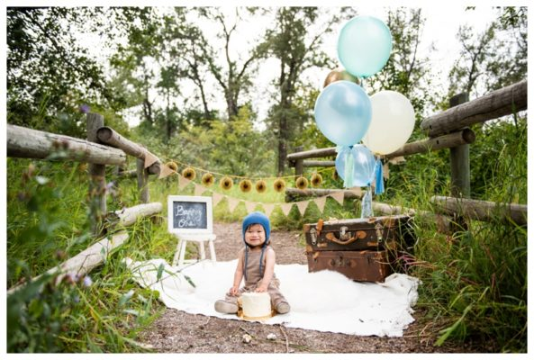 Calgary Pearce Estate Park First Birthday Cake Smash Session | Benny is ONE! | Calgary Cake Smash Photographer