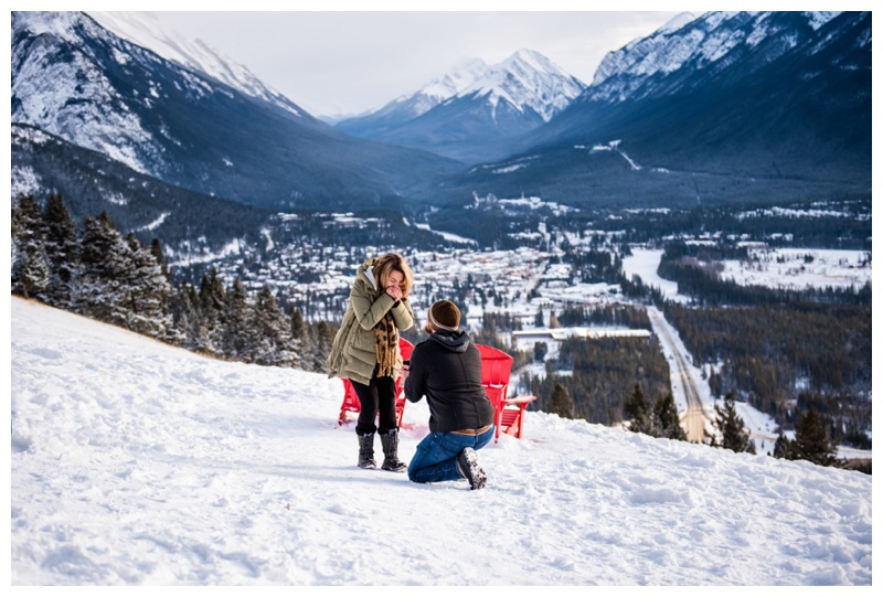 Banff Lookout Winter Proposal Photography
