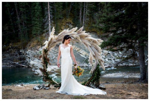 Earthy Peach Pampas Rocky Mountain Wedding | Calgary Wedding Photographer