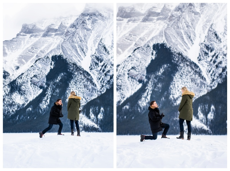 Lake Minniwanka Proposal Photography