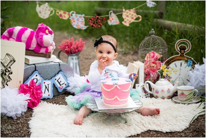Calgary 1st Birthday Cake Smash Photographer - Alice in Wonderland