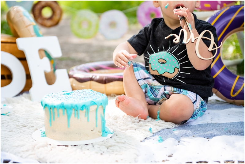 Calgary Donut Themed 1st Birthday Cake Smash Photographer