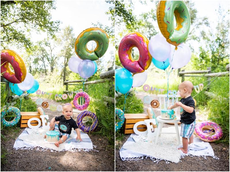 Calgary Donut Themed 1st Birthday Cake Smash Photographers