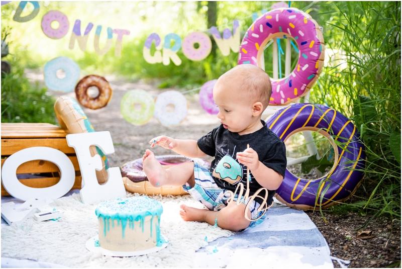 Calgary Donut Themed 1st Birthday Cake Smash Photography