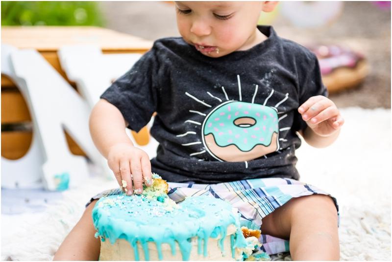 Calgary Donut Themed First Birthday Cake Smash Photographers