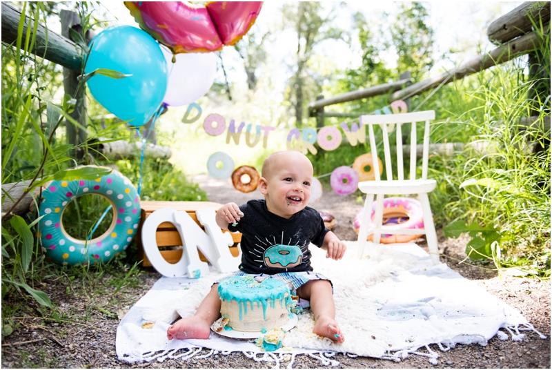 Calgary Donut Themed First Birthday Cake Smash Photos