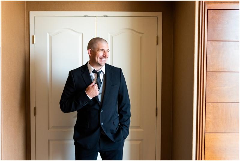 Calgary Wedding Photographer - Groom Prep Sheraton Eau Claire