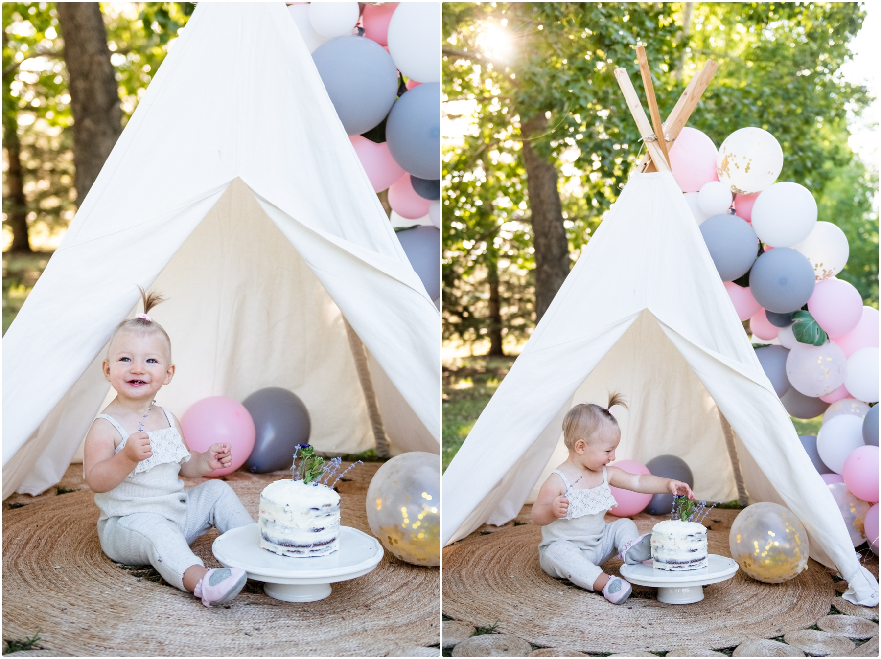 Boho Calgary 1st Birthday Cake Smash Photographer