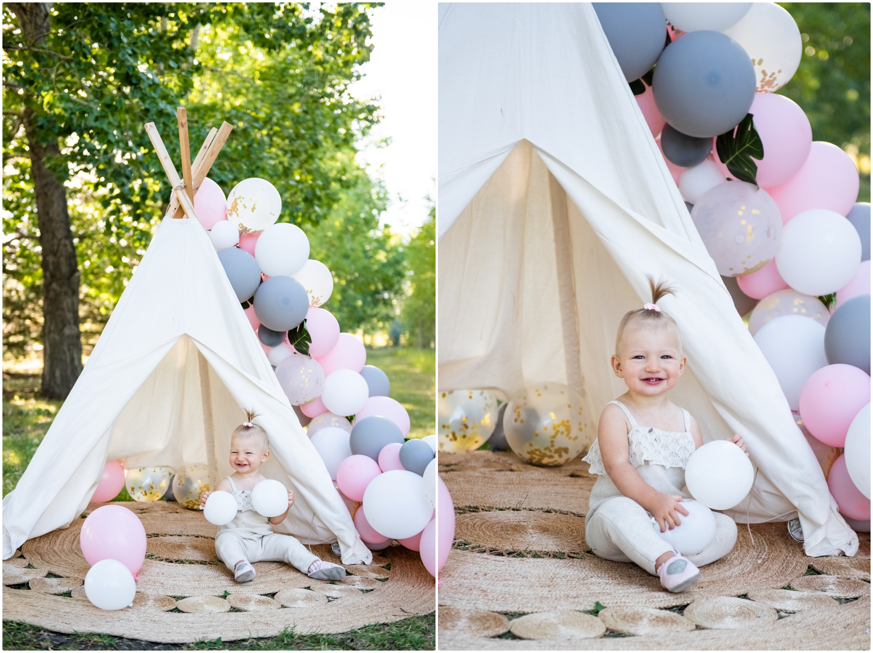 Boho Calgary 1st Birthday Cake Smash Photography