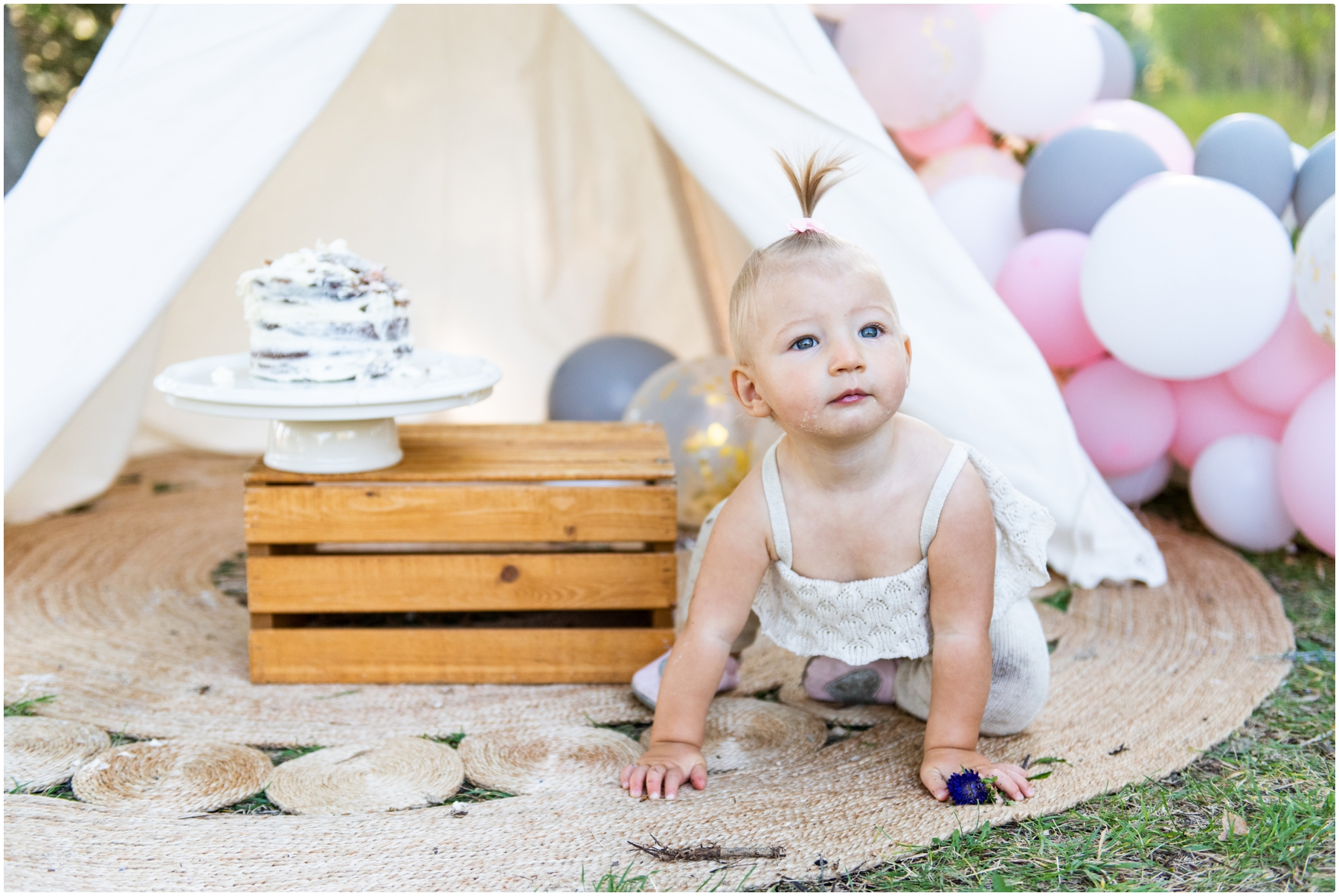 Calgary Boho 1st Birthday Cake Smash Photography