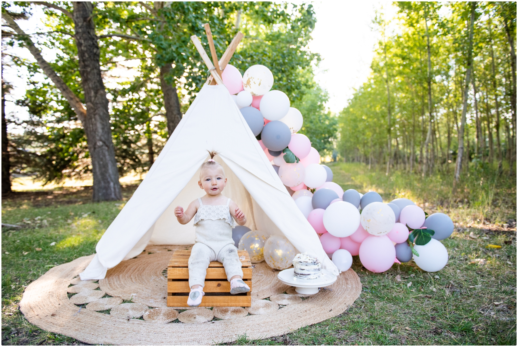 Calgary Boho 1st Birthday Cake Smash Photos