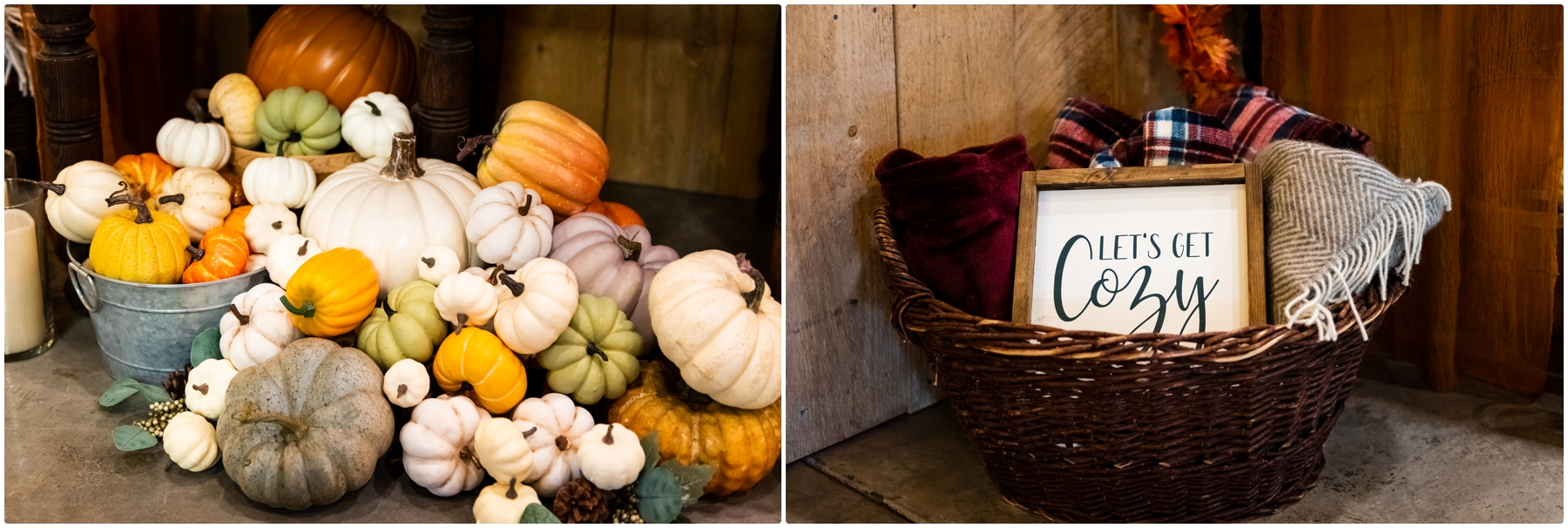 Autumn Barn Wedding Reception Detail Photos- Sweet Haven Barn