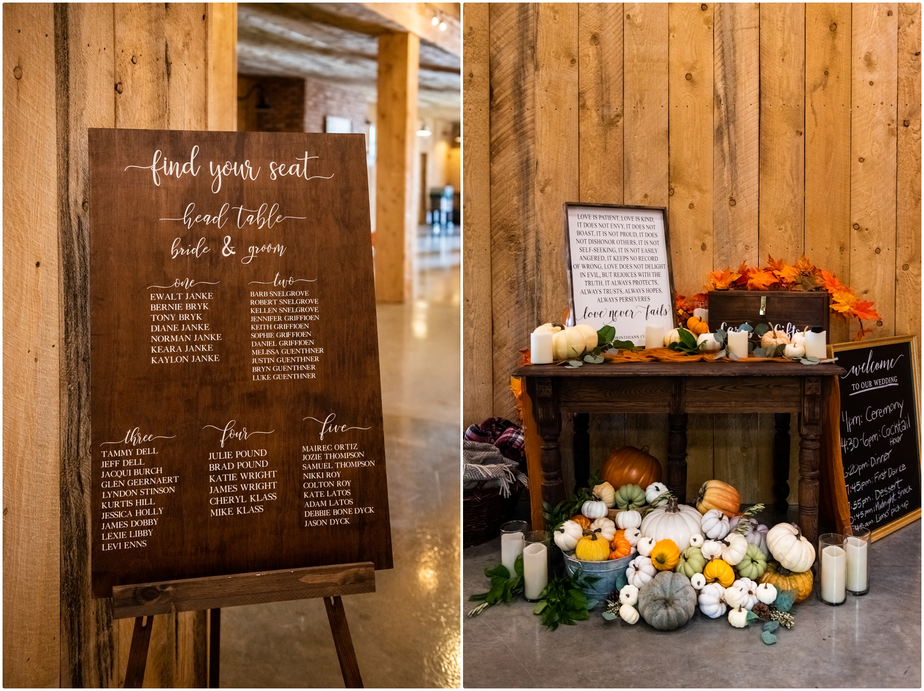 Autumn Barn Wedding Reception Photos- Sweet Haven Barn