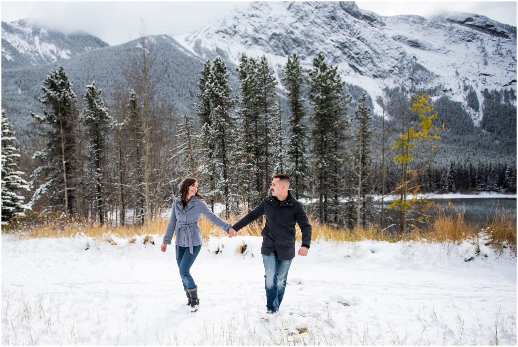Kananaskis Mountain Winter Engagement Photography