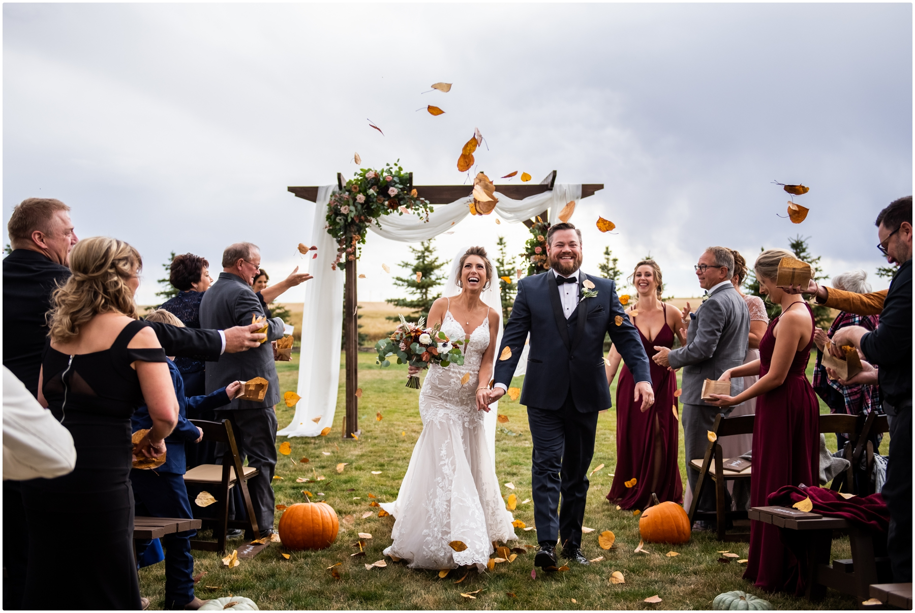 Outdoor Autumn Barn Wedding Ceremony Photos- Sweet Haven Barn