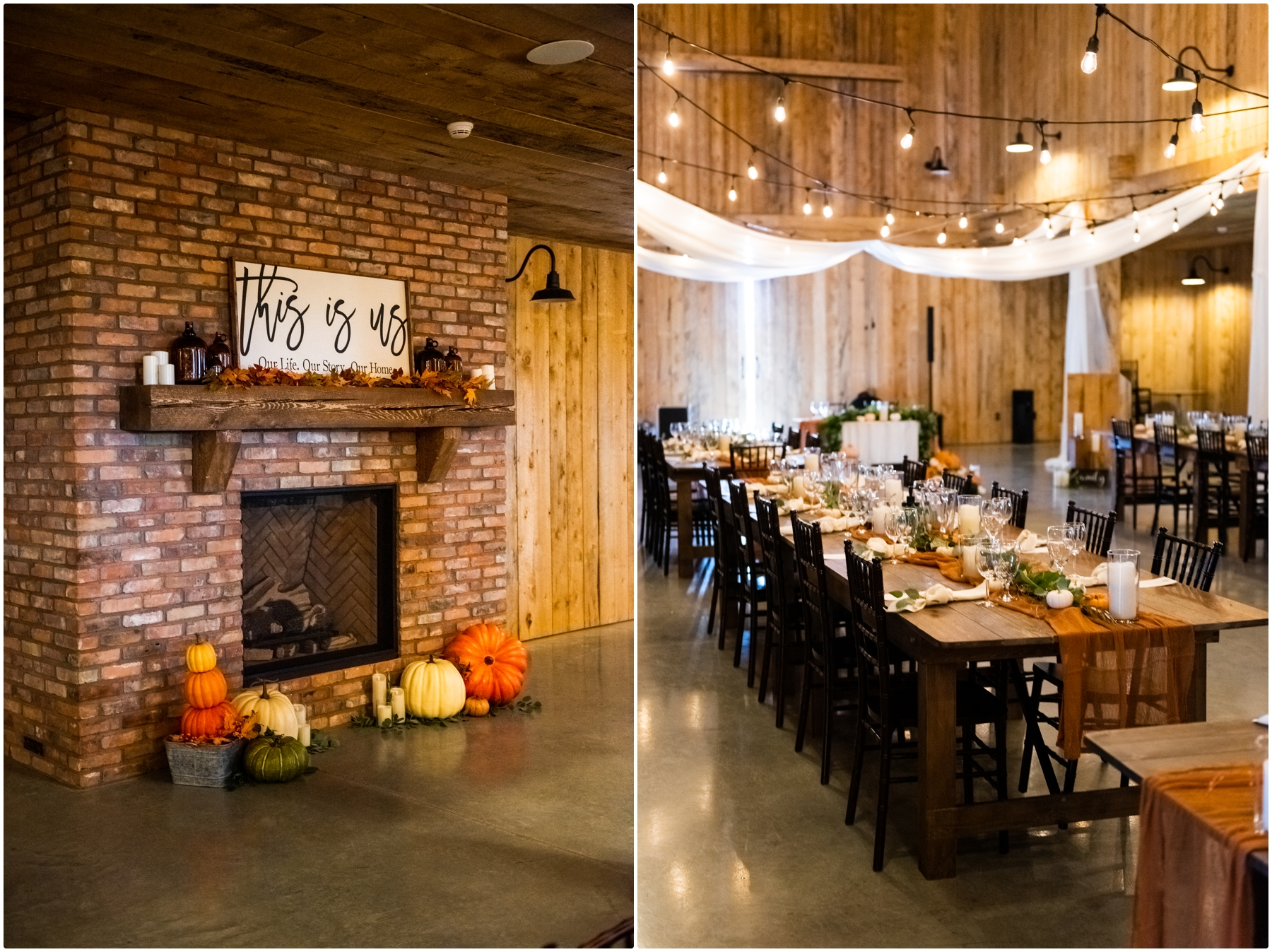 Sweet Haven Barn- Autumn Barn Wedding Reception Photography