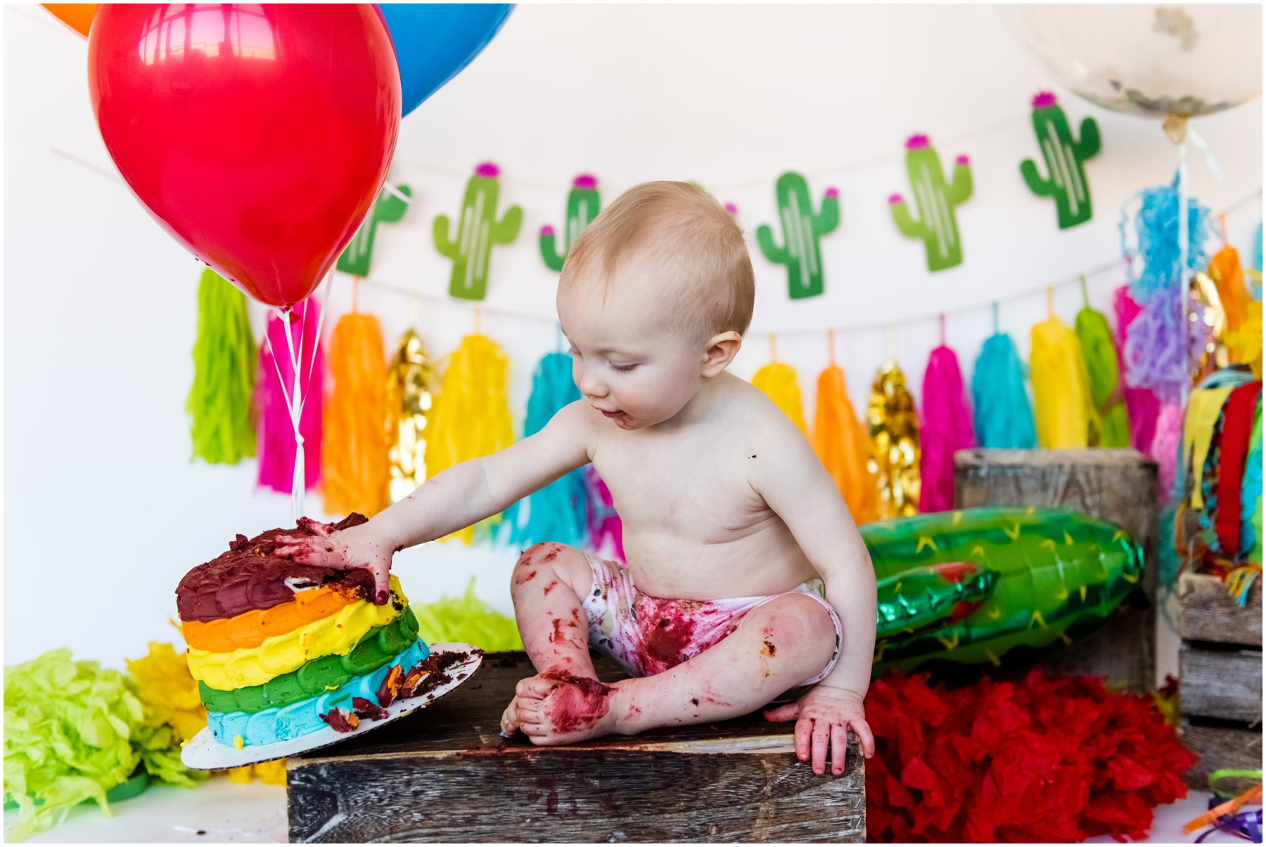 Calgary 1st BIrthday Cake Smash Photographer- Fiesta Themed Cake Smash