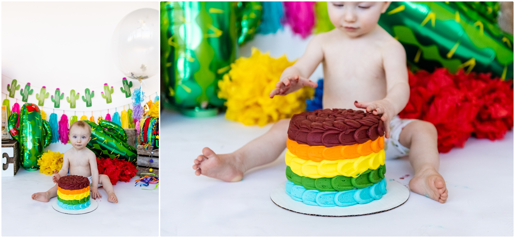 Calgary Fiesta Themed First Birthday Cake Smash Photography
