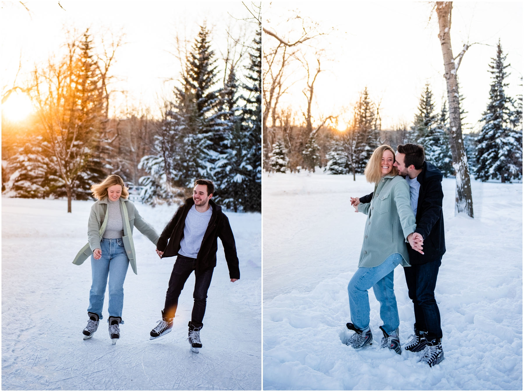 Bowness Park Skating Engagement Photographers