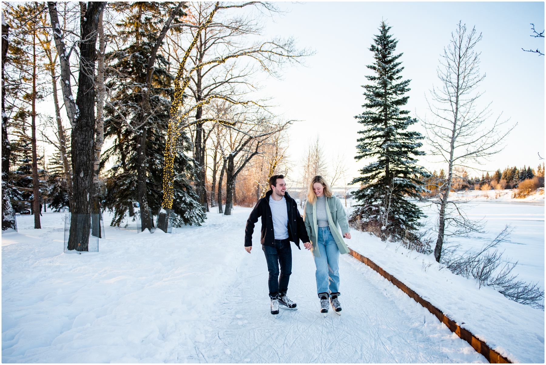 Bowness Park Skating Engagement Photos
