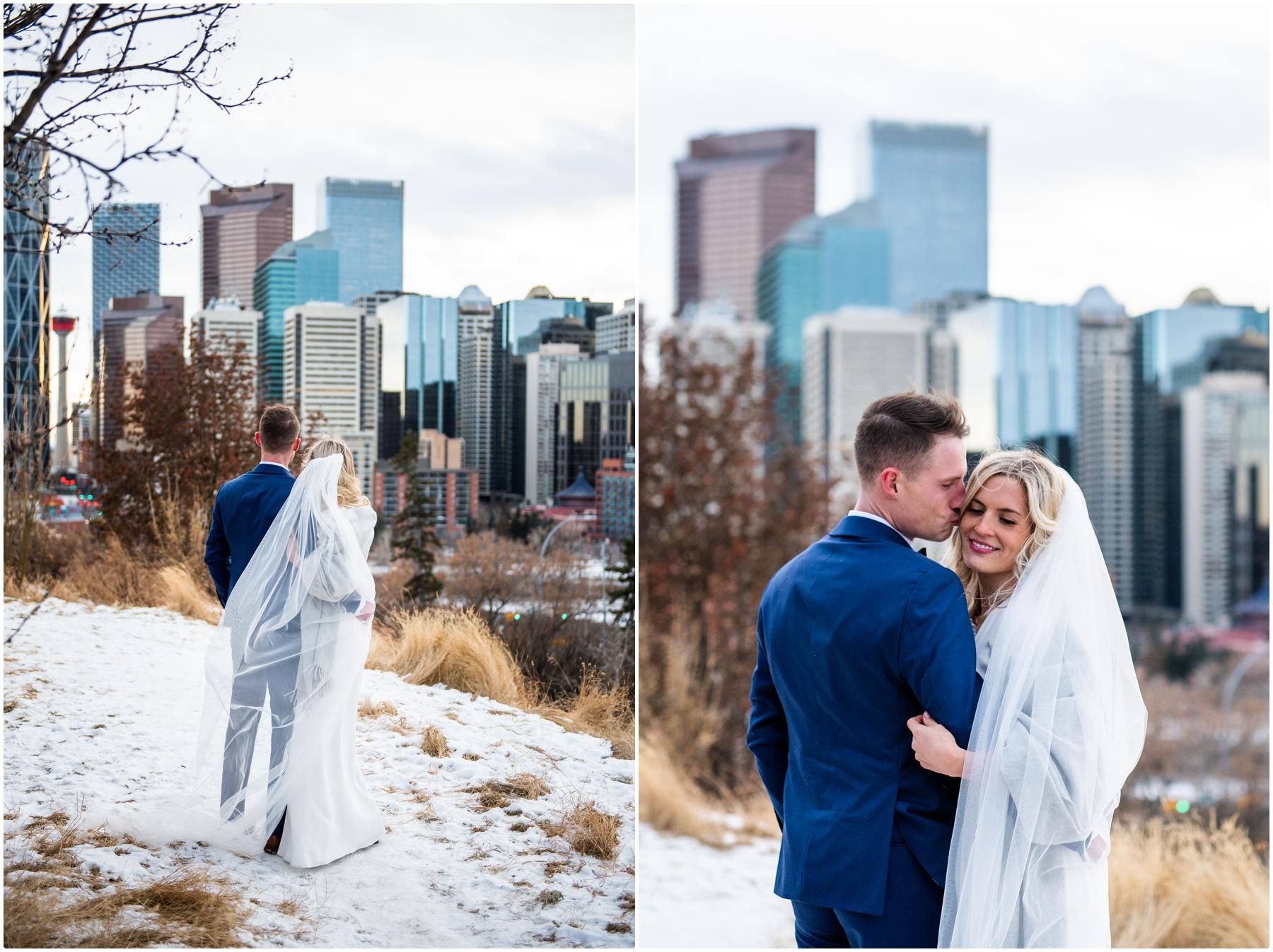 Calgary Alberta Winter Urban Wedding Photographer