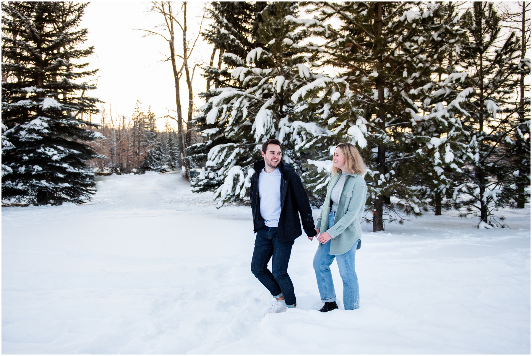 Calgary Bowness Park Skating Engagement Photographer
