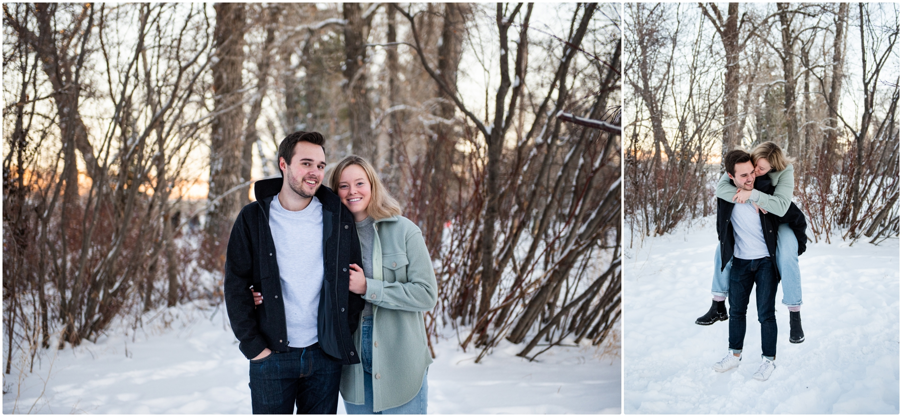 Calgary Bowness Park Skating Engagement Photography