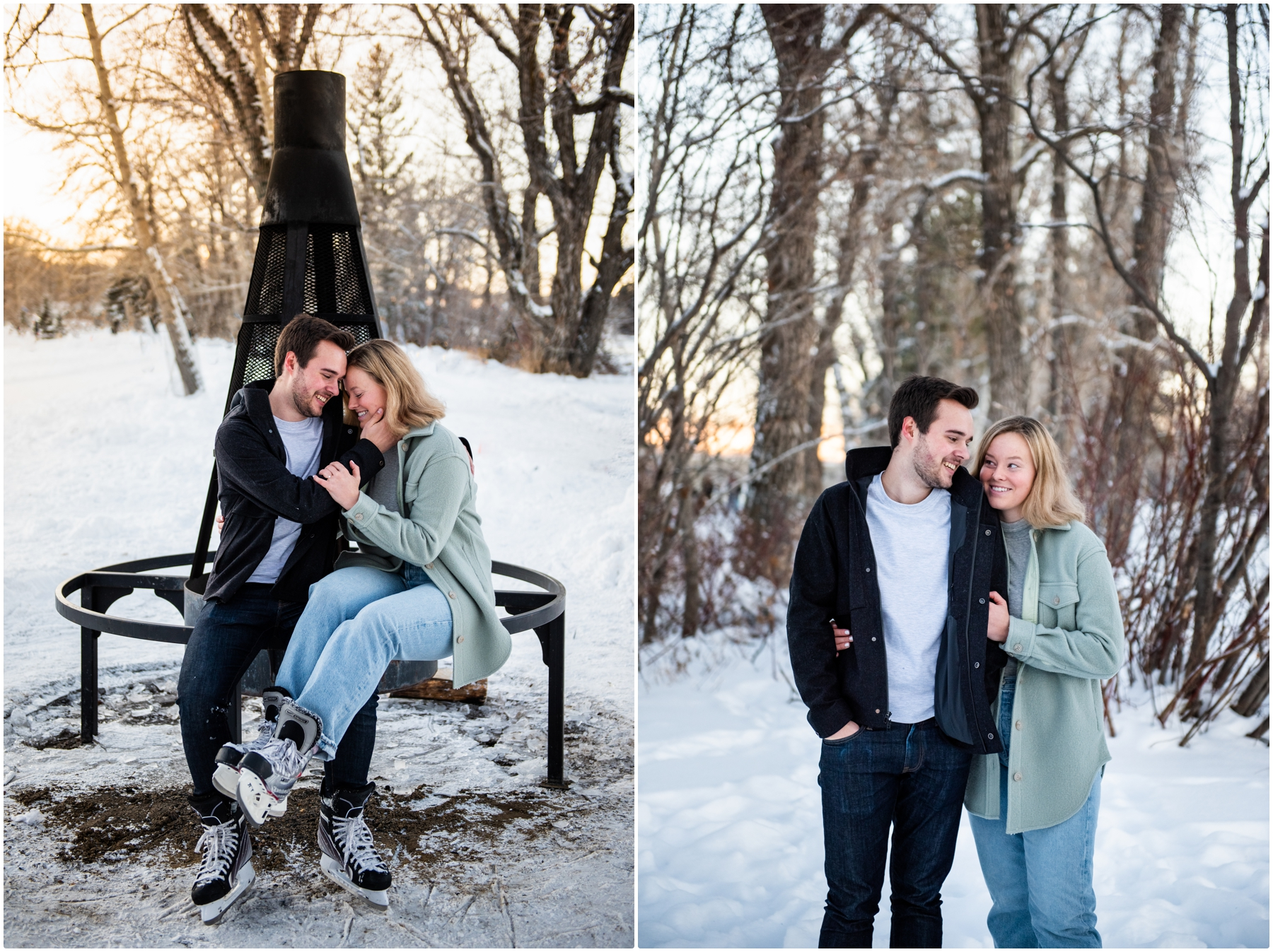 Calgary Bowness Park Skating Engagement Photos