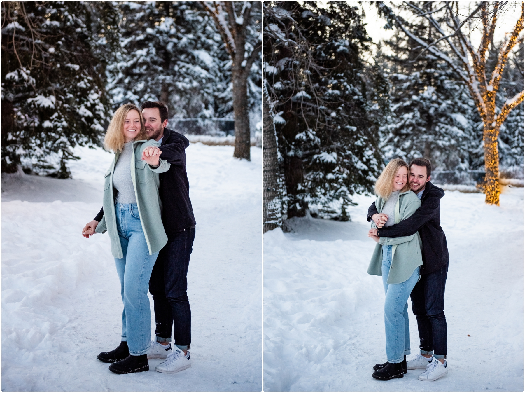Calgary Bowness Park Winter Engagement Photography