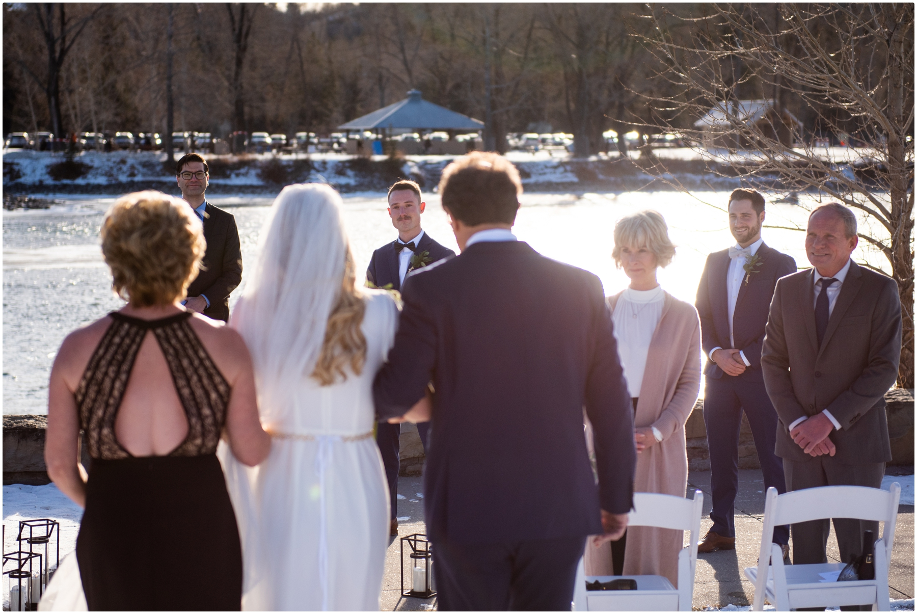 Calgary Outdoor Winter Wedding Ceremony - Baker Park Wedding