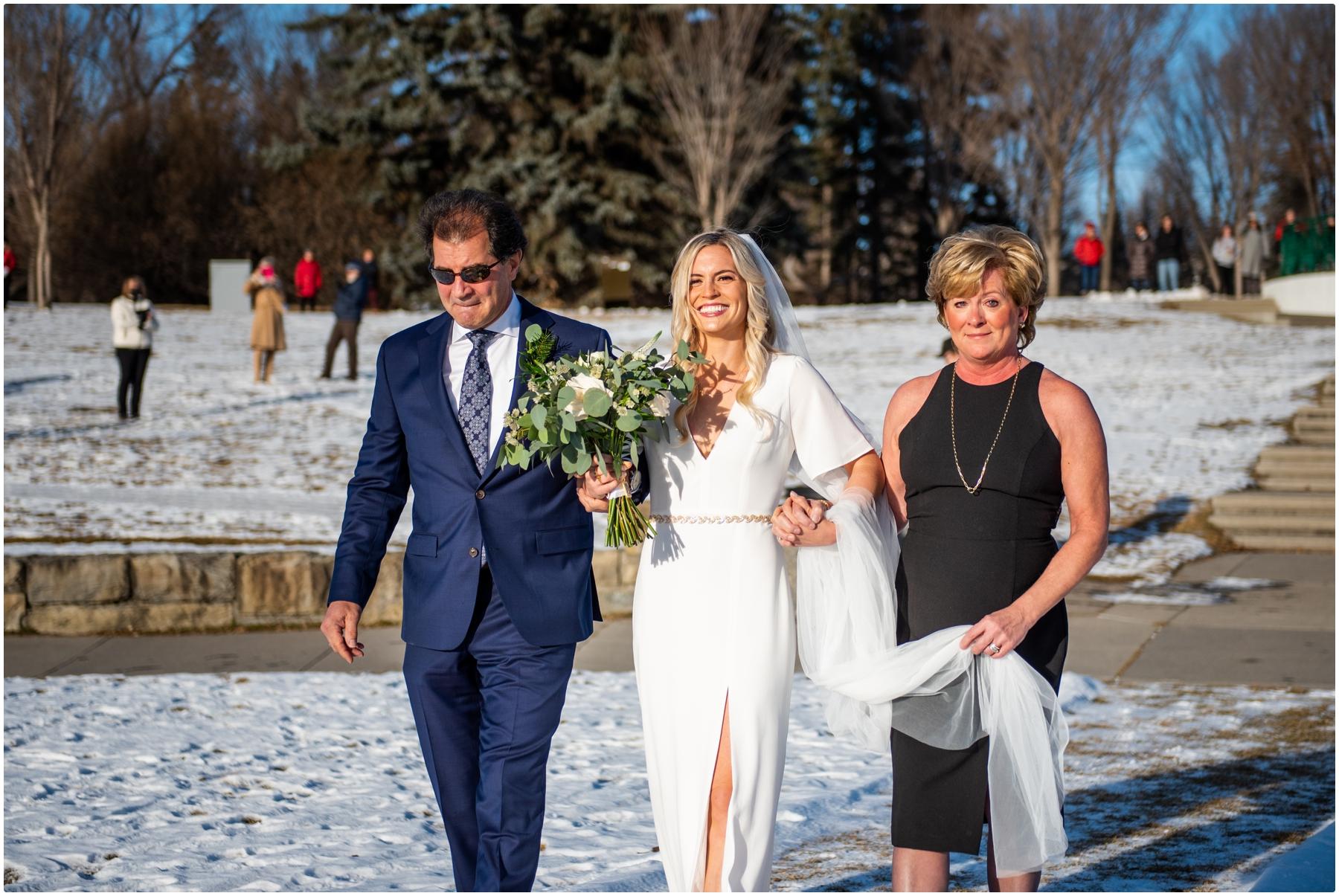 Calgary Outdoor Winter Wedding Ceremony - Baker Park