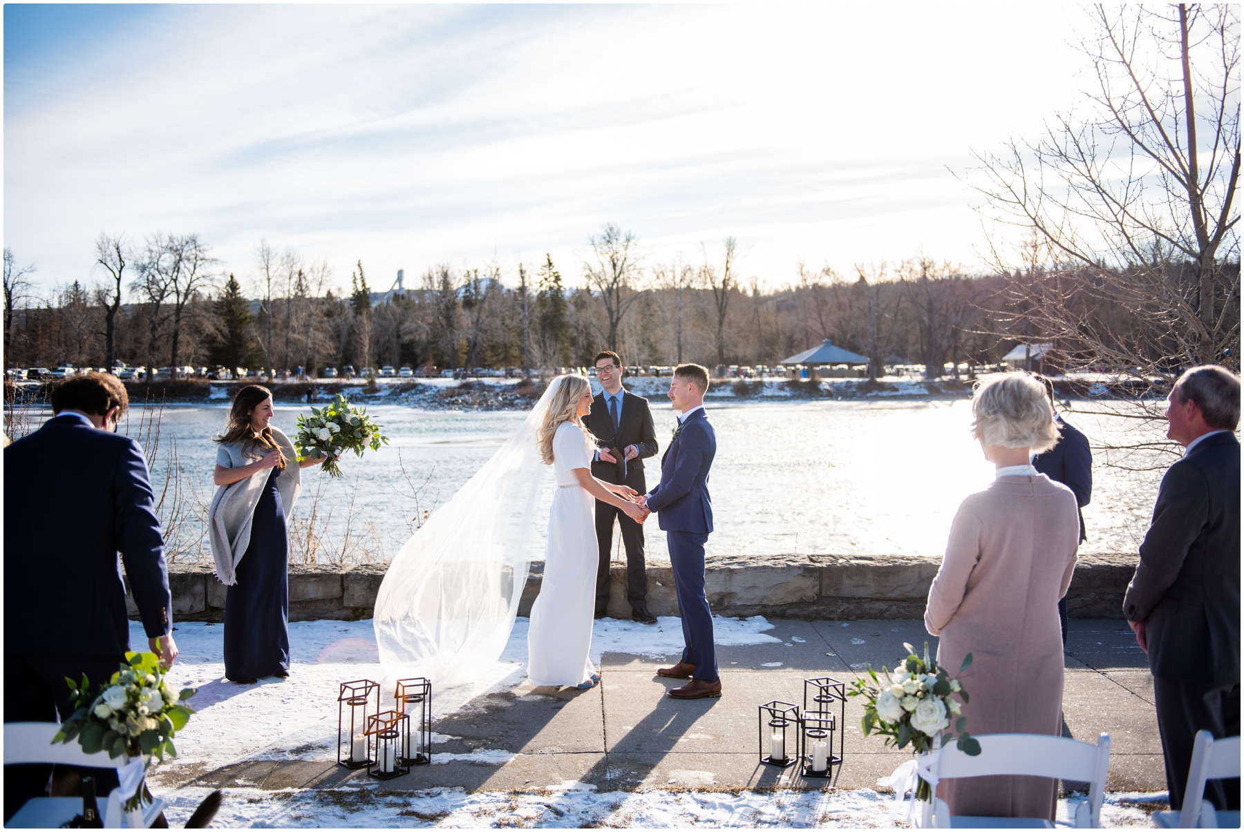 Outdoor Winter Wedding Ceremony Calgary