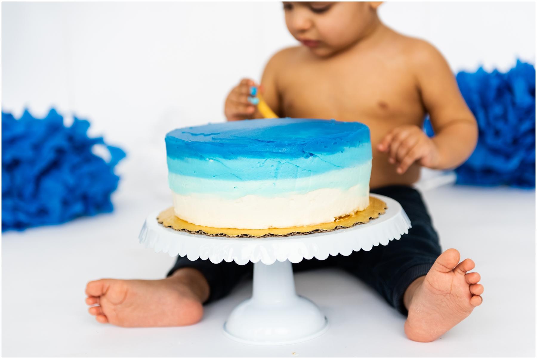 Calgary Blue Umbre Cake Smash Photography